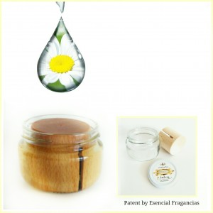 Ambientador para casa esencia manzanilla. Tarro Aromático para Aromaterapia y Antiolores. Presentado en frasco de vidrio, con difusor de madera natural.